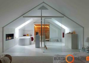 Vonios kambarys, įrengtas už stiklinių sienų