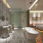 Vonios kambario erdvė išskirta įspūdingomis plytelėmis