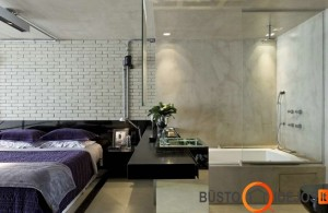 Modernus miegamasis su vonia