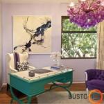 Modernus darbo kambarys su klasikinio stiliaus baldais