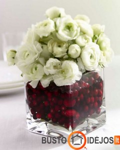Gėlės gali būti merkiamos ir į vazą, pilną spanguolių