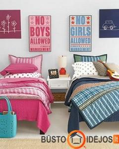 Žaismingi plakatai virš lovų