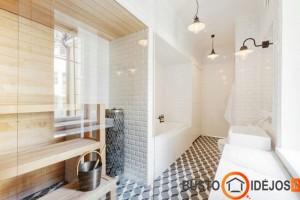 Pirtis, įrengta lygiagrečiai su vonia