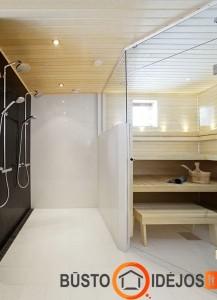 Pirtis, įrengta šalia dušų, labai patogu