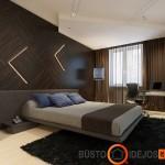 Išskirtinė siena moderniame miegamajame